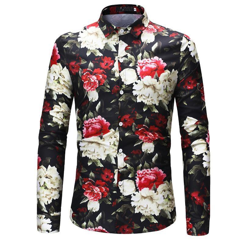 2018 Yeni Tasarım Çiçek Baskı Adam Gömlek Uzun Kollu Bluz Casual Camisas Masculinas İnce Chemise Homme Uomo Hemden Çiçek Blusas