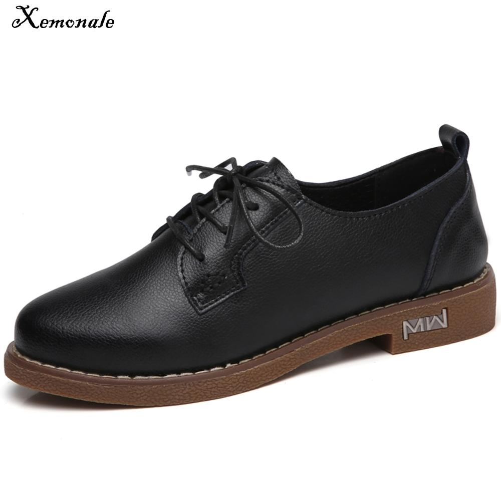 Xemonale Women Flats Shoes Oxfords Genuine Leather Lace up Moccains Casual Shoes Women Derby Flat Shoes Ladies White Spring