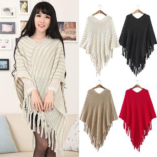 Fashion New 2016 New Women's Knit Warm Batwing Cape Tassels Poncho Cloak Jacket Coat Winter Outwear 4 Colors