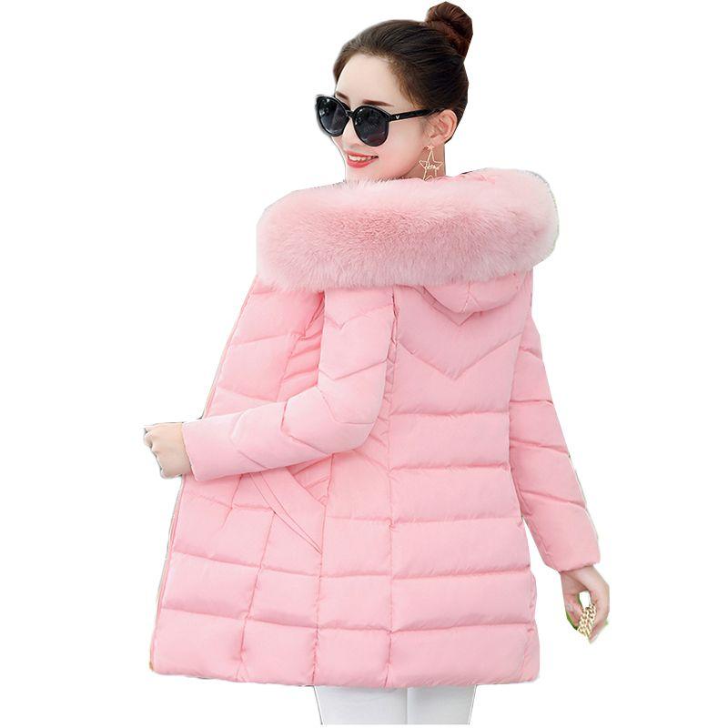 Korean Style Wintermantel Frauen Pelzkragen Gepolsterte-Baumwolle Parkas Weibliche Dicker Mäntel Jacken Mittel Lange Mit Kapuze Mäntel Frauen