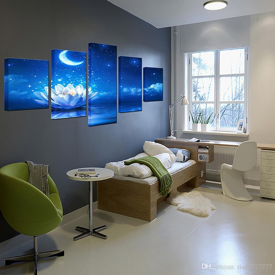 ... 5 Stücke Weiß Lotus Blume Mond Malerei Auf Leinwand Ungerahmt Moderne  Landschaft Öl Bild Für Schlafzimmer ...