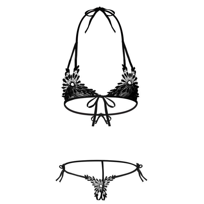 NEUE Heiße Frauen Sexy Dessous Versuchung Geöffneter Gabelung Spitze Gaze Drei-Punkt Pyjamas Bandage Babydoll Sexy Unterwäsche Set S18101509