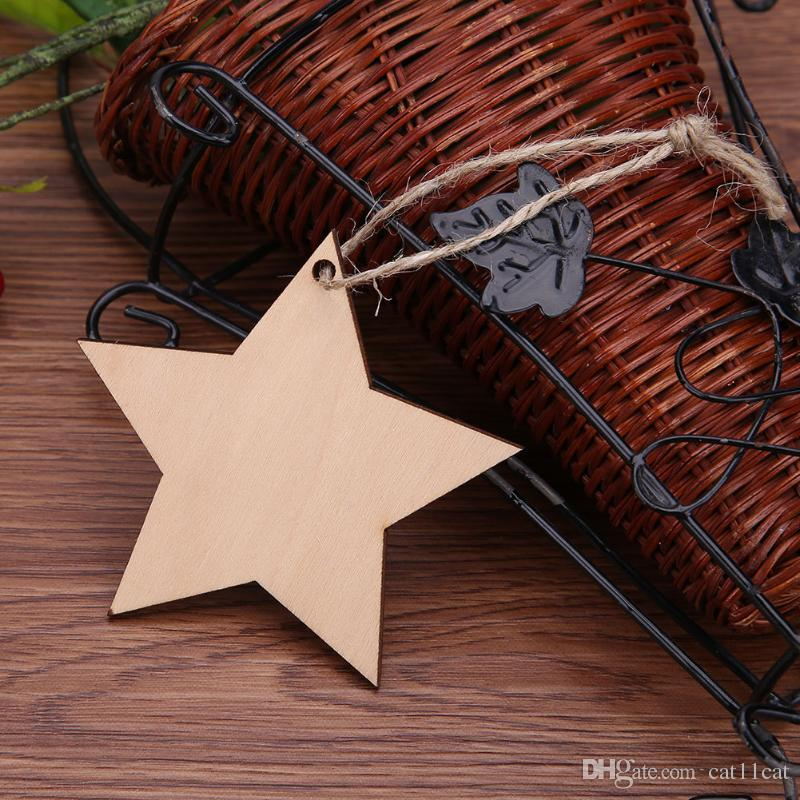 80mm string hanging natural plywood Christmas party star tags wooden wood decorations star
