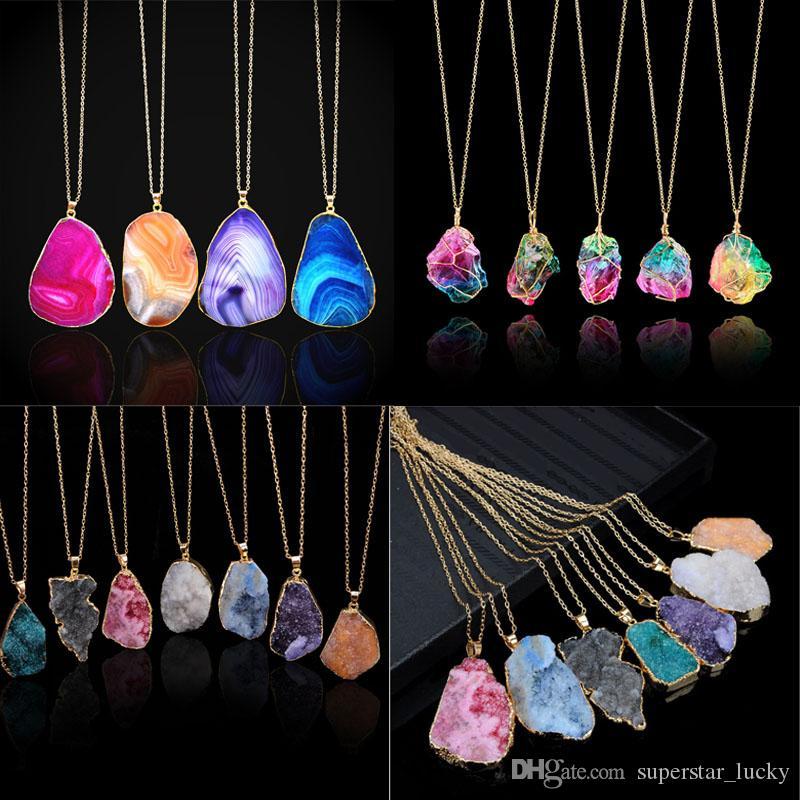 Moda pedra Natural linhas de corte de cristal brilham cores do arco-íris colar de pingente de ágata