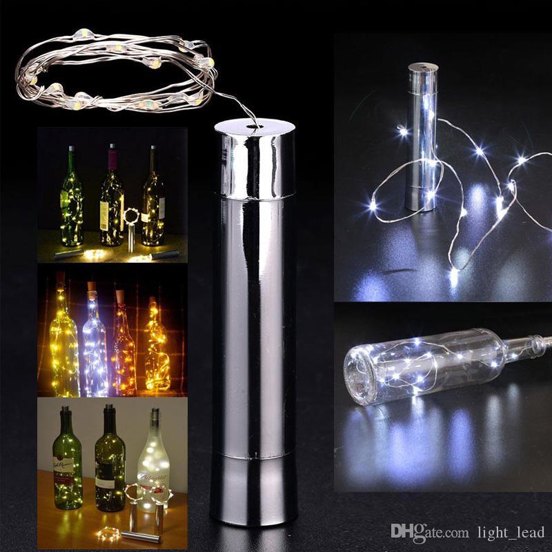 20 LED 배터리 구동 도금 와인 병 마개 구리 DIY LED 문자열 조명 요정 스트립 밤 램프 야외 파티 조명 장식