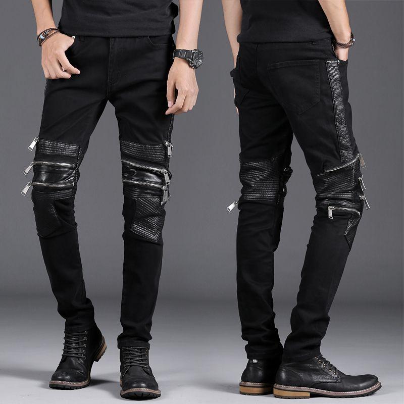 Nowy męski chude dżinsy czarny Slim Fit Multi Zipper Motorcycle Moto Biker Męskie Stretch Denim Hip Hop Punk Men Spodnie