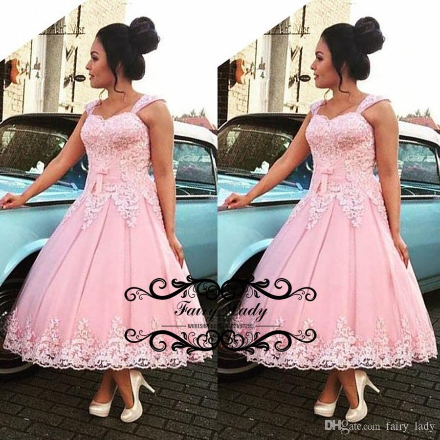 Venta al por mayor 1950s vestidos de fiesta de longitud té rosa 2018 ...