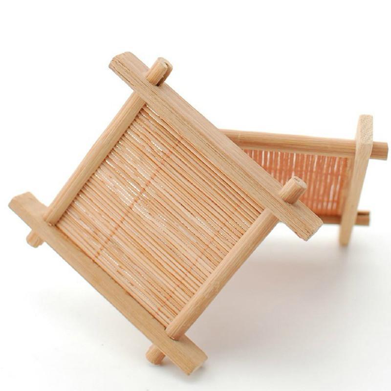 Naturel 1 pc 100% bambou bois plateaux pour thé plateaux 7 cm * 7 cm Creative Chinois mot Jing Concave tasse tapis préféré 2019