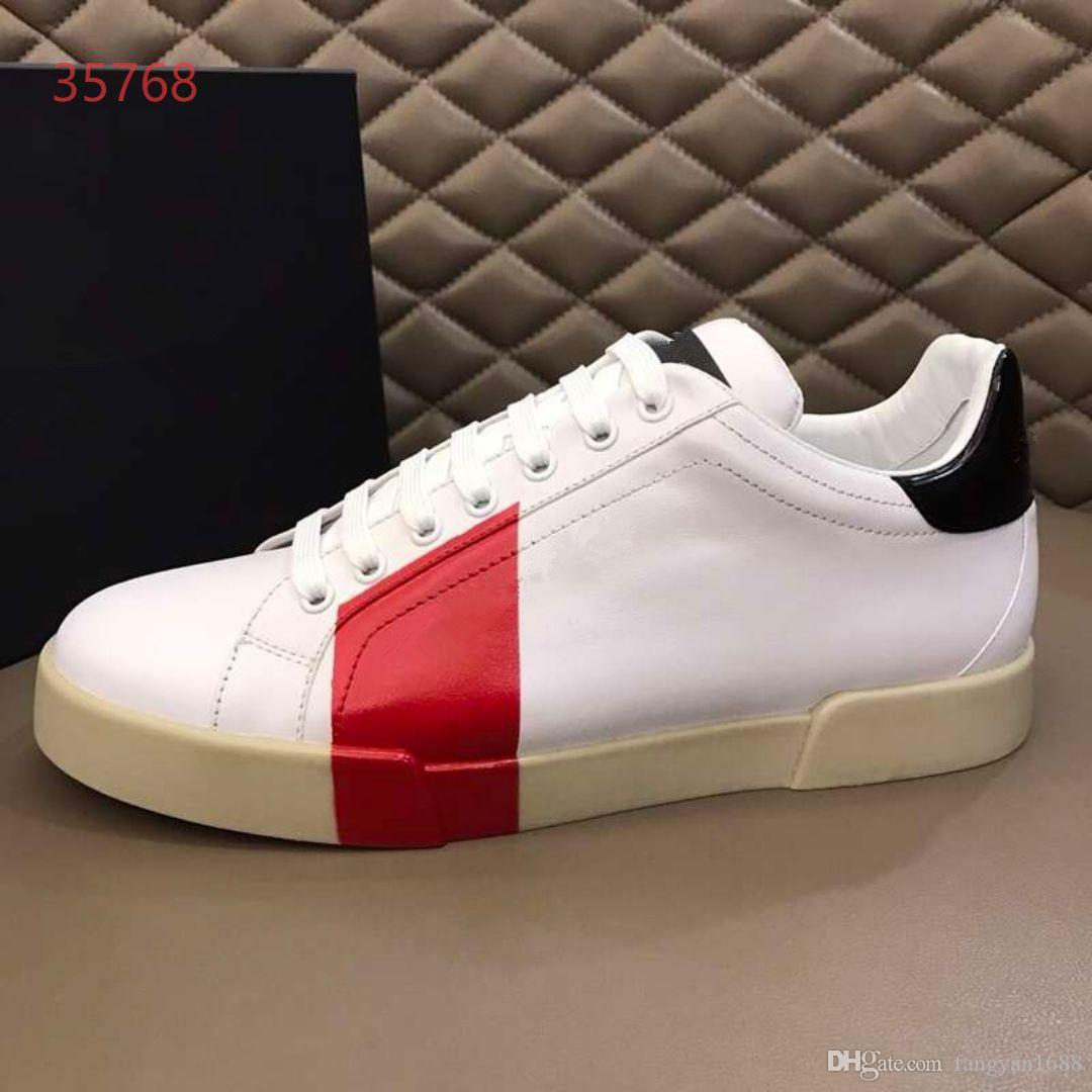 2019ss Novos sapatos de luxo Lazer dos homens Tênis Branco Lace up de Luxo Sapatos de Qualidade Superior com tamanho da caixa 38-45