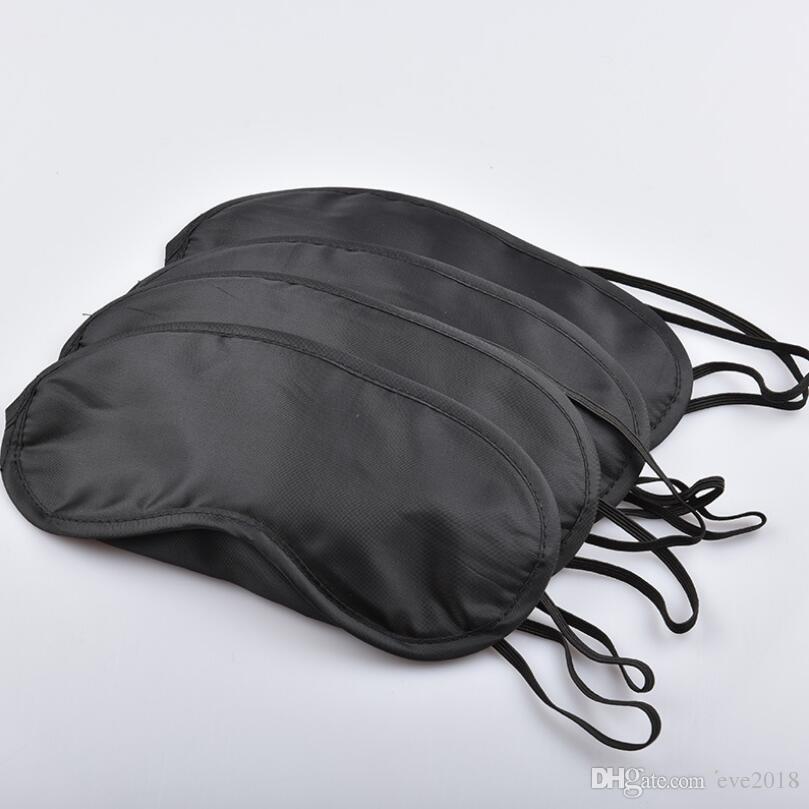Máscara de Olho Preta de 4 Camadas De Seda Poliéster Máscara Sombra Máscara de Blindfold para Viagens de Dormir LX3077