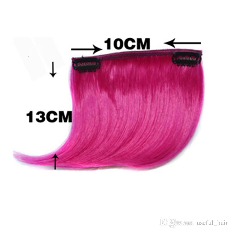 OMBRE COLORS BLACK BANGS Clips Hair Styling Clip de Pretty Girls en el frente Bang Fringe Hair Extension Pieza de pelo sintético recto BANG