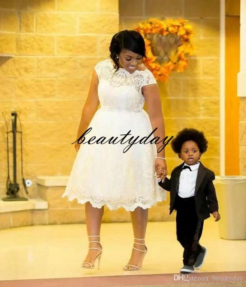 A-line African Wedding Dresses For Nigerian Bride 2019 Modest Middle East Church Wedding Gown Tea-length Custom Made Plus Size