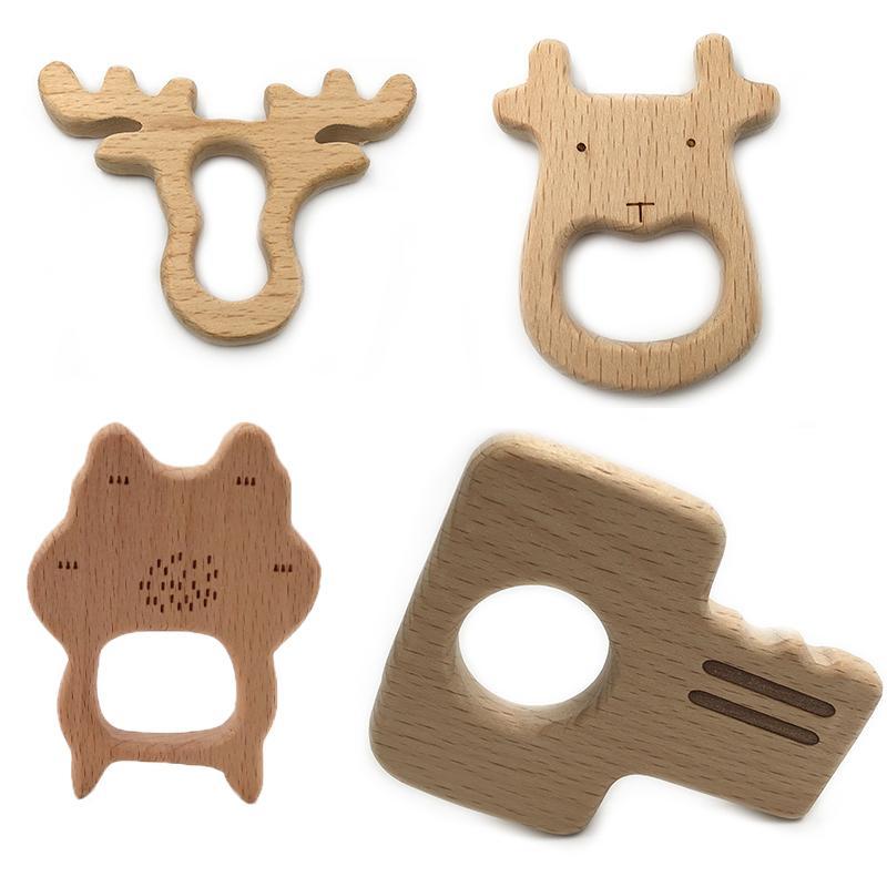 Anillos de madera mordedor madera natural juguetes de dentición para bebé, mordedor de madera animales para el niño, juguetes calmante para el alivio del dolor del bebé