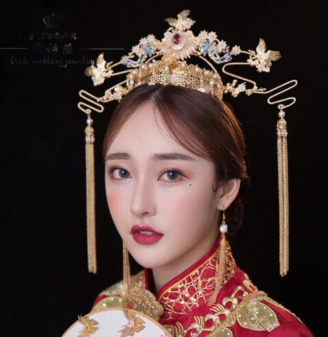 324562ab38388 Brides, New Style Costume, Headwear, Chinese Wedding Show, Clothes, Phoenix  Crown, Imperial Court, Tassel, Ear Set, . Cheap Wedding Jewelry Sets ...