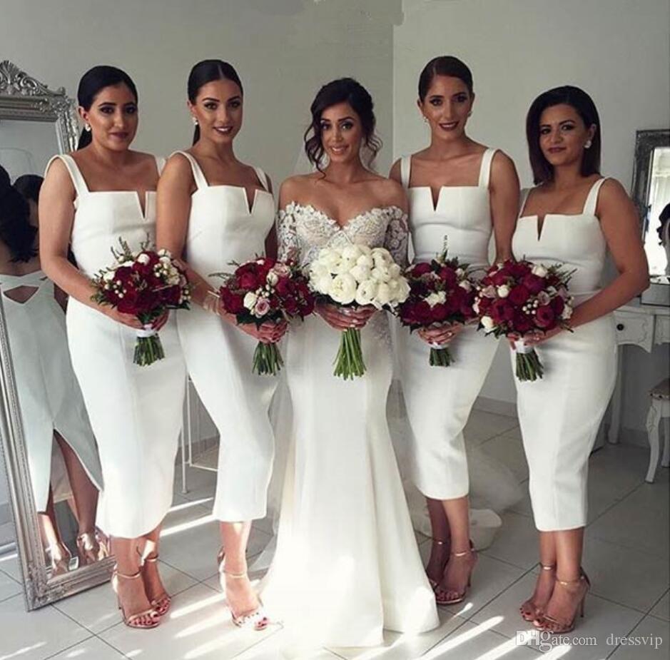Biały Druhna Suknie Pasek Długość Herbaty Satynowa Ślub Gość Druhna Pokojówka Honor Suknie Custom Made Plus Size Prom Dress Wear