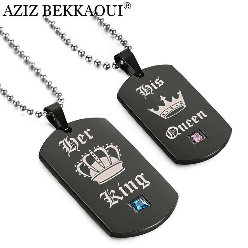 AZIZ BEKKAOUI Etiketleri Kolye Çift Kolye Onun Kral Kraliçesi Taç Kolye Asker Asker Kartları için Lover Dropshipping