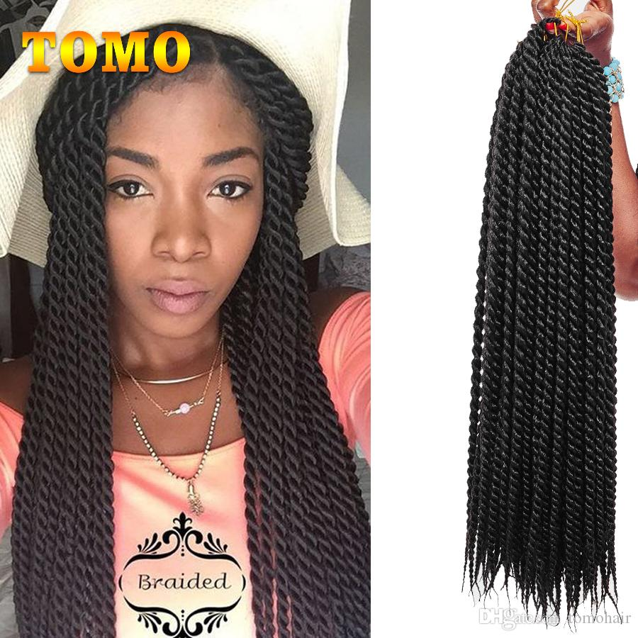 TOMO Crochet Braids Senegalese Twist Kanekalon Synthetic Hair Bluk Pure Or Ombre Grey Brown Crochet Braiding Hair Extensions 22Roots/Pack