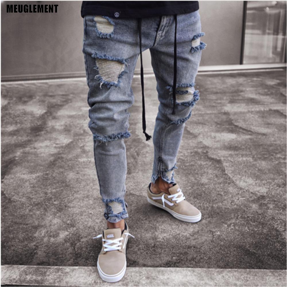 Slim fit jeans strappato Uomo Ciao Street Hip Hop Pantaloni da uomo Denim Joggers Pantaloni ginocchieri fori lavati jeans distrutti