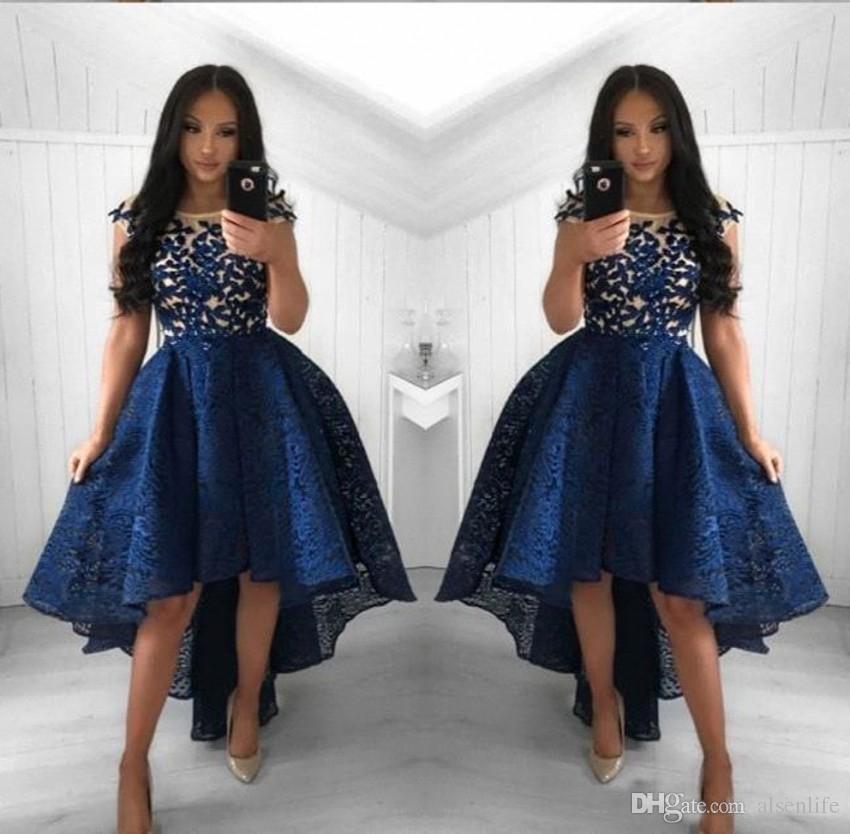 2019 navy blaue spitze cocktail kleider a line juwel neck hoch niedrig kurze partei prom kleider homecoming kleider arabische vestidos