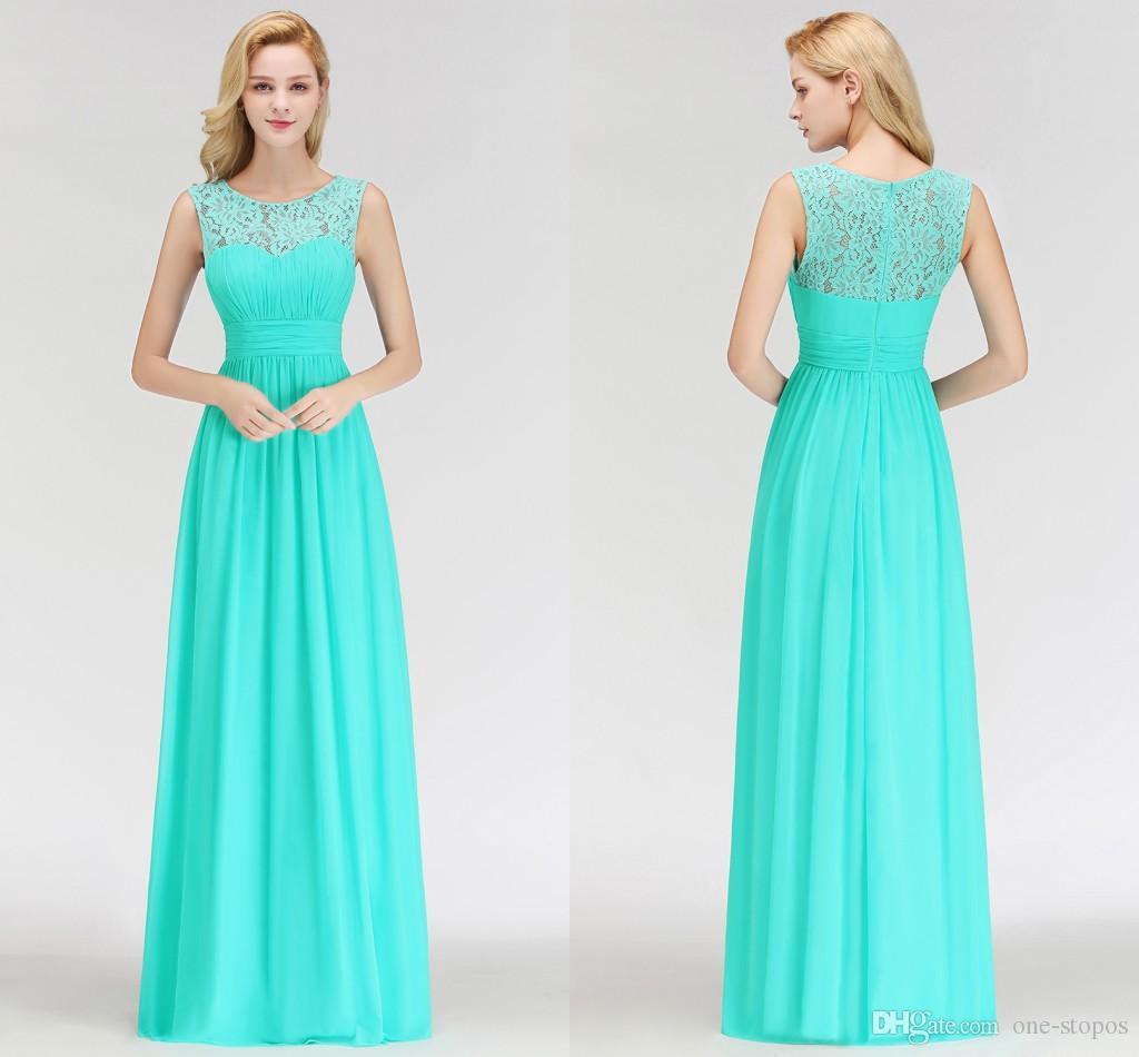 Elegant Lace Top A Line Bridesmaid Dresses A Line Chiffon Sleeveless Sheer Neckline Long Maid Of Honor Dresses Cheap BM0052