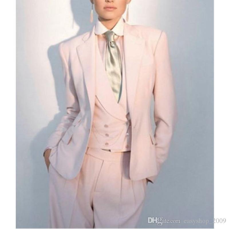 Yüksek kaliteli Kadınlar Bayanlar Custom Made Ofis Iş Smokin Çalışma Suit Resmi Yeni Takım Elbise (ceket + pantolon + yelek) custom made