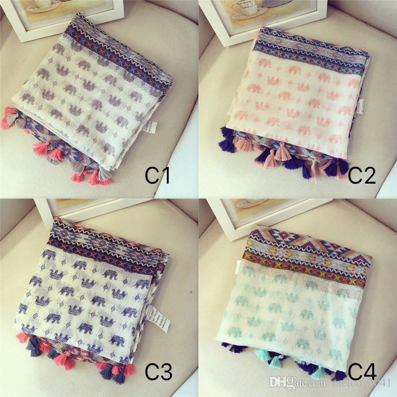 Southeast Asia Antique Tassels Scarves With Elephant Cotton Linen Shawl Summer Sunshade Beach Towel 90X180CM 4 Colors