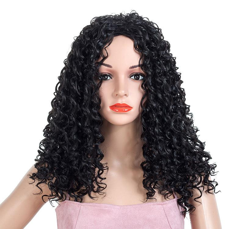 Women Afro Long Synthetic Deep Wave Corn Hair Cheap Side Bang Chemical Headgear Dyed Partial Fiber Heat Resistant Wig