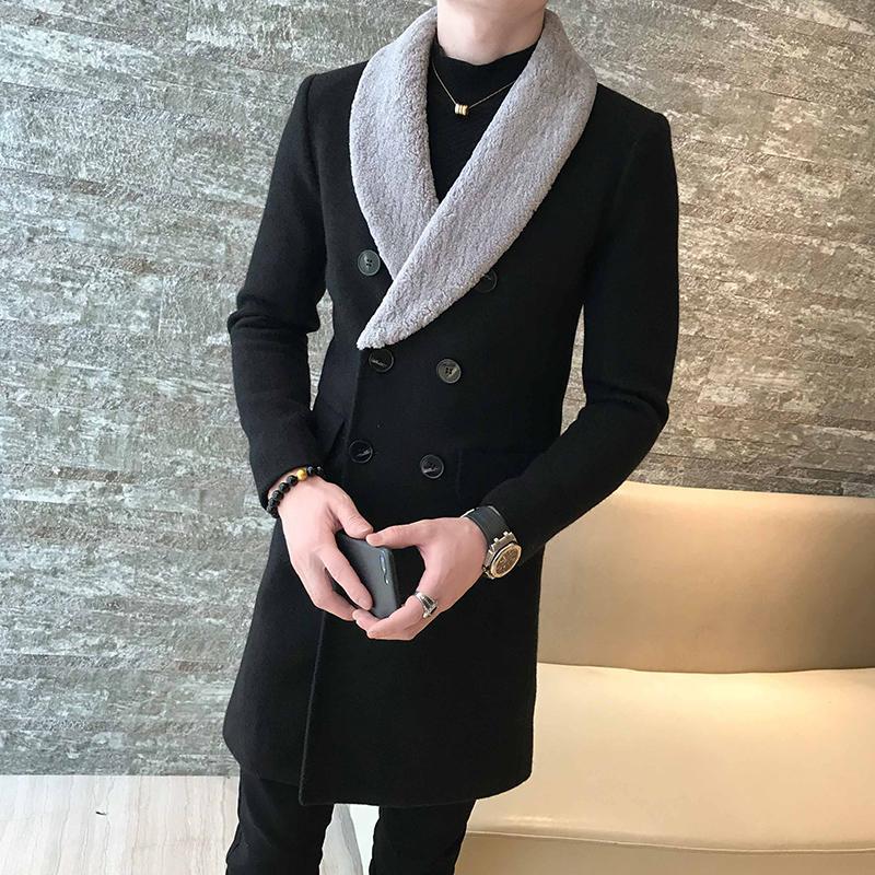 Long Wool Coats Mens 카키 더블 브레스트 롱 코트 남성 신사 트렌치 Abrigo Hombre Invierno Casaco Longo Masculino