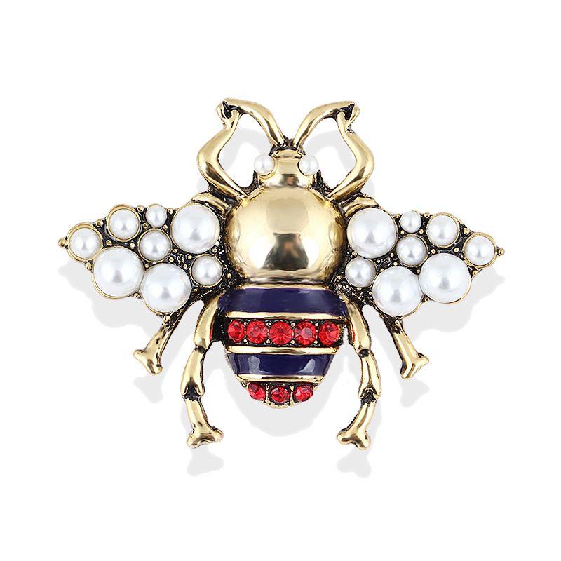 Pearl Lega Ape Spilla Unisex dell'insetto Spilla Pin delle donne degli uomini di cristallo dei monili piccoli distintivi di moda coccinella gioielli Pin Spilla Accessori regalo