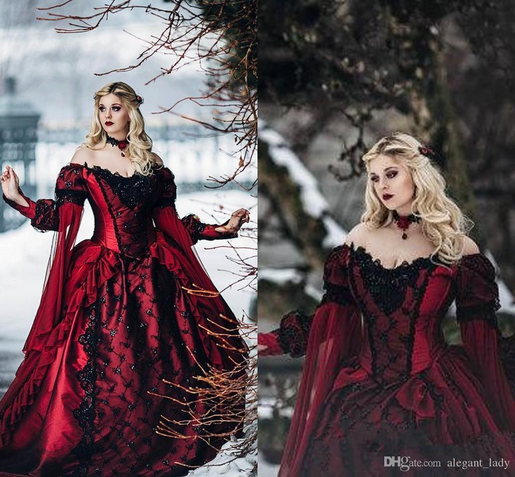 Gothic Dornröschen Prinzessin Mittelalter Burgunder und Schwarz Brautkleid Langarm Spitze Applikationen viktorianischen Maskerade Brautkleider