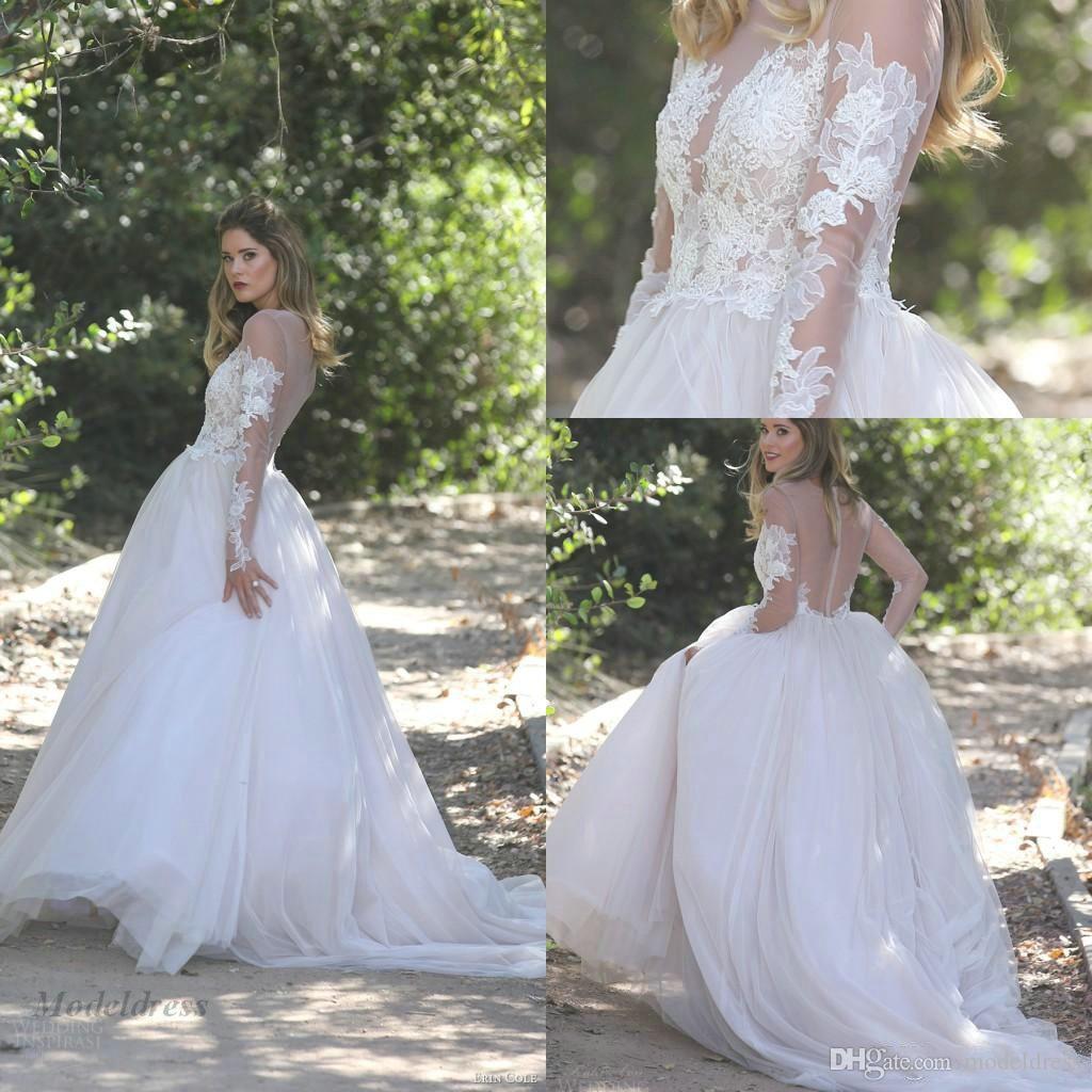 Sexy See Through mangas largas vestidos de novia una línea de tul de alta calidad palabra de longitud apliques de encaje Sheer Neck Country vestidos de novia 2018