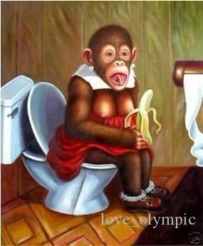 """Beaucoup de gros """"Lovely Monkey mange des bananes"""", véritable peint à la main Wall Decor Animal Art peinture à l'huile sur toile Multi tailles disponibles, Rsh043 #"""