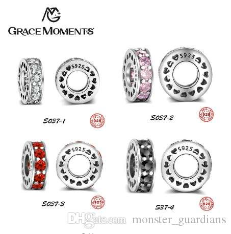 GRAZIE MOMENTI 925 sterling silver beads perline 4 colori Crystal Pave Charm CZ Charm Fit Charm Bracelet Girl Authentic Jewelry