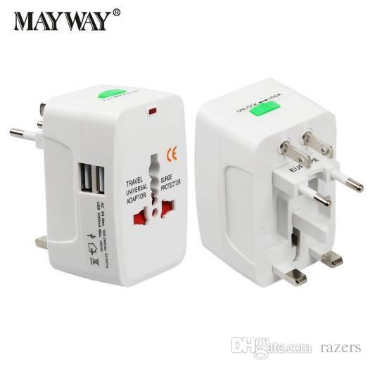 Adaptador de Tomada Energia Elétrica Adaptador de viagem internacional Soquete universal de viagem USB Power Charger Converter