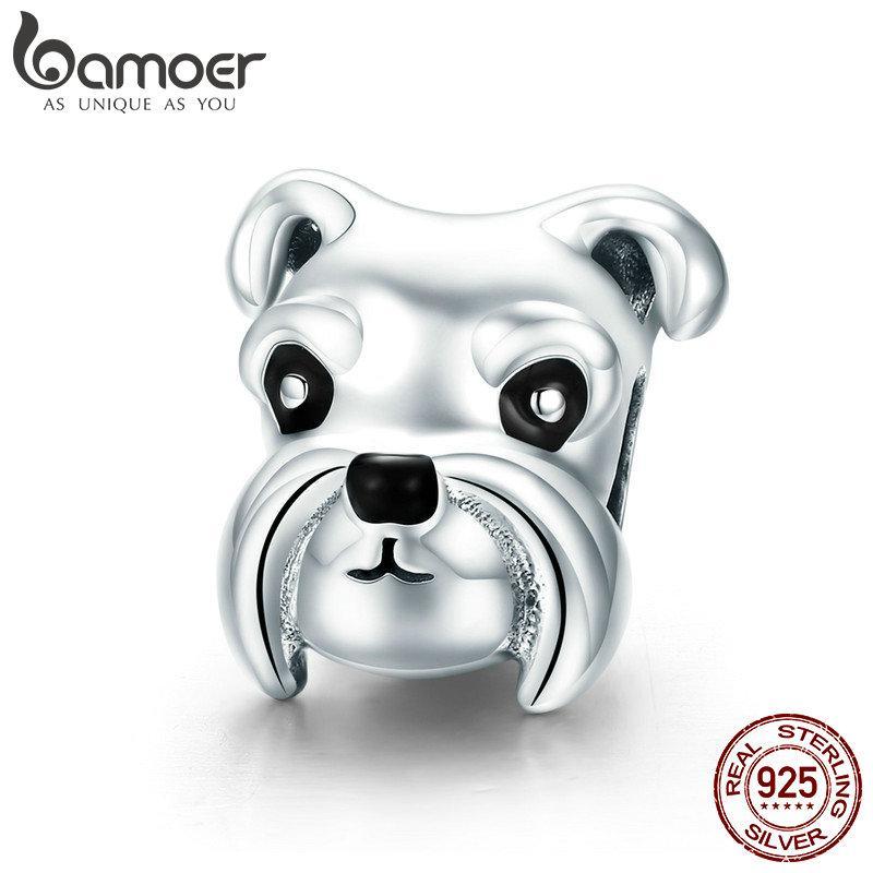 100% 925 Sterling Silver Adorável Animal Schnauzer Dog Charme Beads fit Mulheres Charme Pulseiras Colares de Jóias DIY
