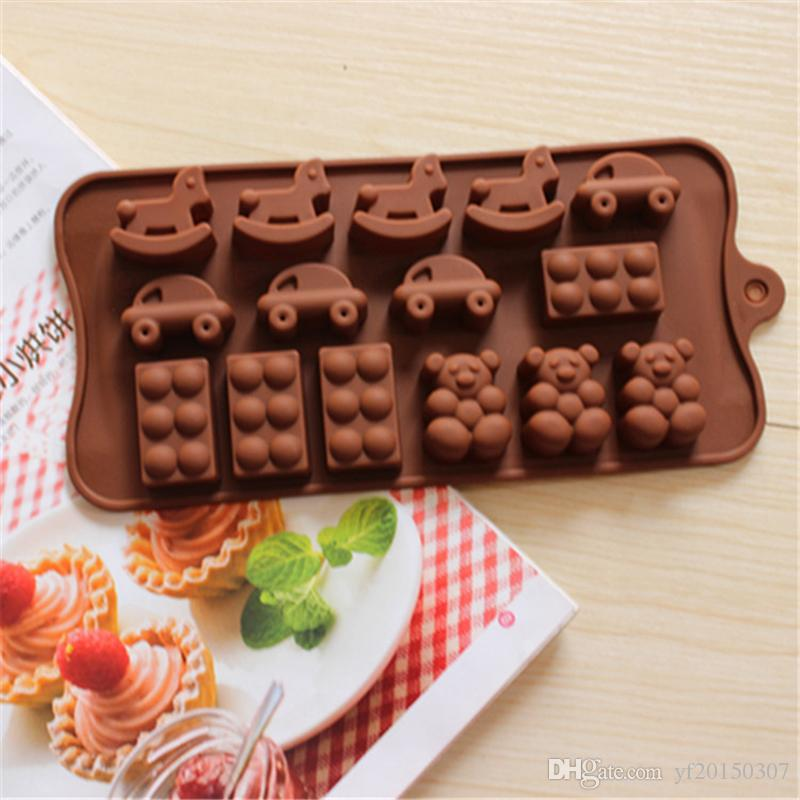 Cake chocolate Mold horse car bear shoes shape Muffin Sweet Candy Jelly fondant Molds Silicone tool Ice mould Baking