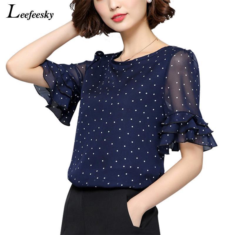 Toptan-XXXXXL Kadınlar Bluzlar 2017 Yaz Kısa Kollu Şifon Bluz Gömlek Polka Dot Kadın Gömlek Artı boyutu Kadın Giyim Bayanlar Tops