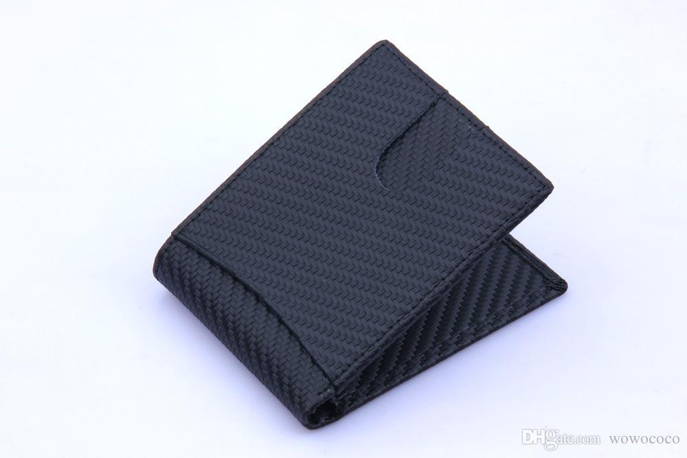 Porta carte sottile in fibra di carbonio Portafogli Portafogli in vera pelle Porta monete in pelle di mucca Colore nero X148