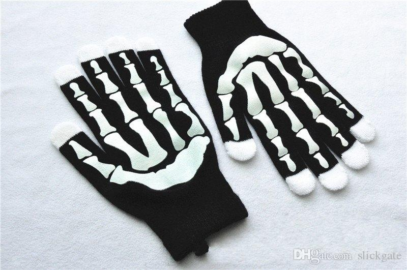 Soutien FBA Drop Shipping Noir Punk Halloween Squelette Chandail Sexy Disco Costume De Danse Partie Gants Chaud Glitter Gants H929Q