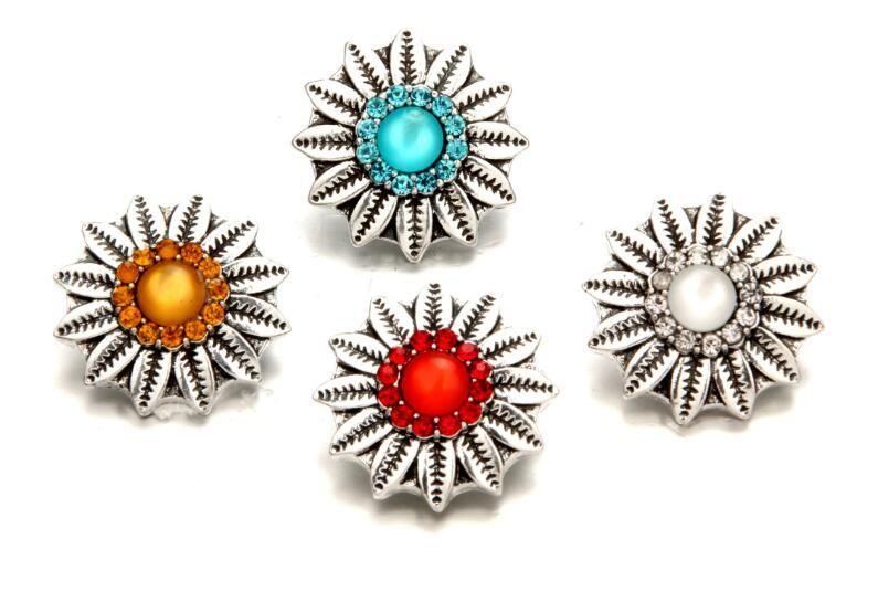 20pcs/lot new 18mm snap button charm noosa crystal cat's eye sunflower shape button charm fit pendant necklace bracelet diy handmade jewelry