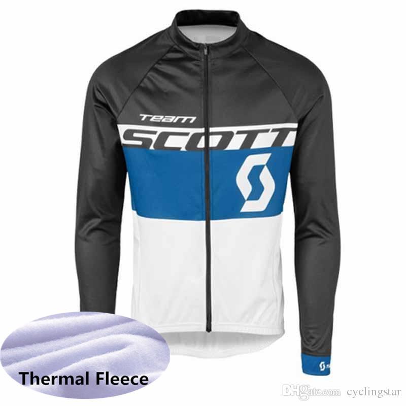 2018 Men SCOTT Winter thermal Fleece Cycling Jersey Long Sleeve Pro Cycling Clothing MTB Bicycle Jersey Bike Clothes Sportswear G1103