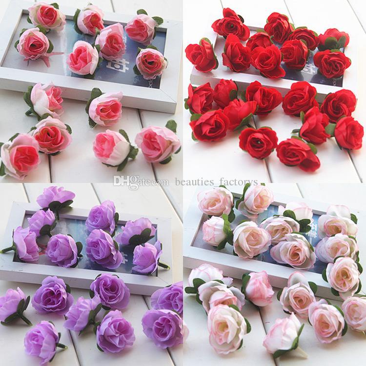 Künstliche Rose Buds Silk Flower Heads Für Hochzeit Brautstrauß Dekoration 3 cm Multi farben