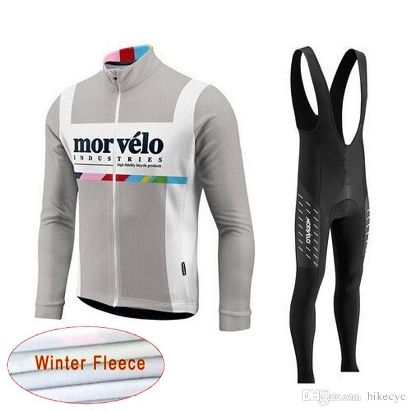Morvelo Team Cycling Inverno Wrinal Fleece Jersey (Bib) Pantaloni Set Nuovo MTB Bicicletta Bicycle Set Ropa Bike Quick Dry Maniche lunghe Maillot Y201121