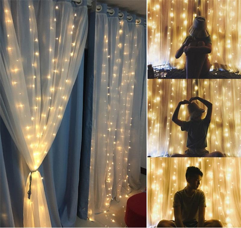 3mx3m levou Ano Novo Natal Fada Iluminação do feriado de guirlandas casamento LED de Cordas 300 levou 9,8 pés de fadas festa no jardim Cortina de Luz Decor