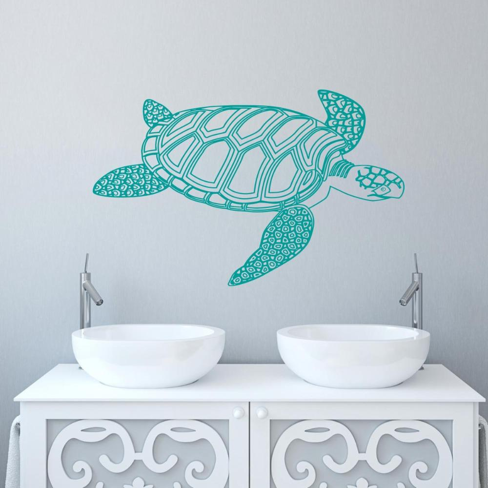 Removable Wallpaper Tortoiseshell Turtle Wall Decals Sea Animal wall sticker for bathroom decor home wall decoration