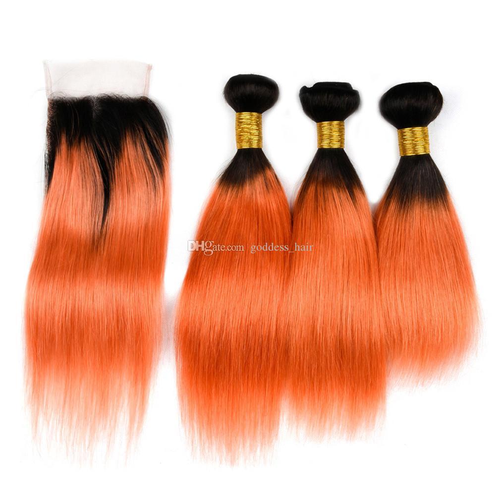 Nuevo producto Extensiones de cabello naranja 1B con cierre de encaje Color de Ombre El cabello humano recto teje 1B 350 con cierre de encaje 4pcs