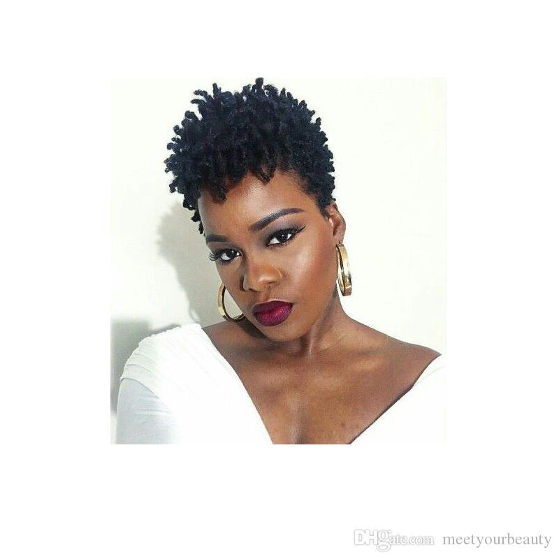 hot soft black short kinky curly wig brazilian Hair Simulation human hair short curly wig free shipping