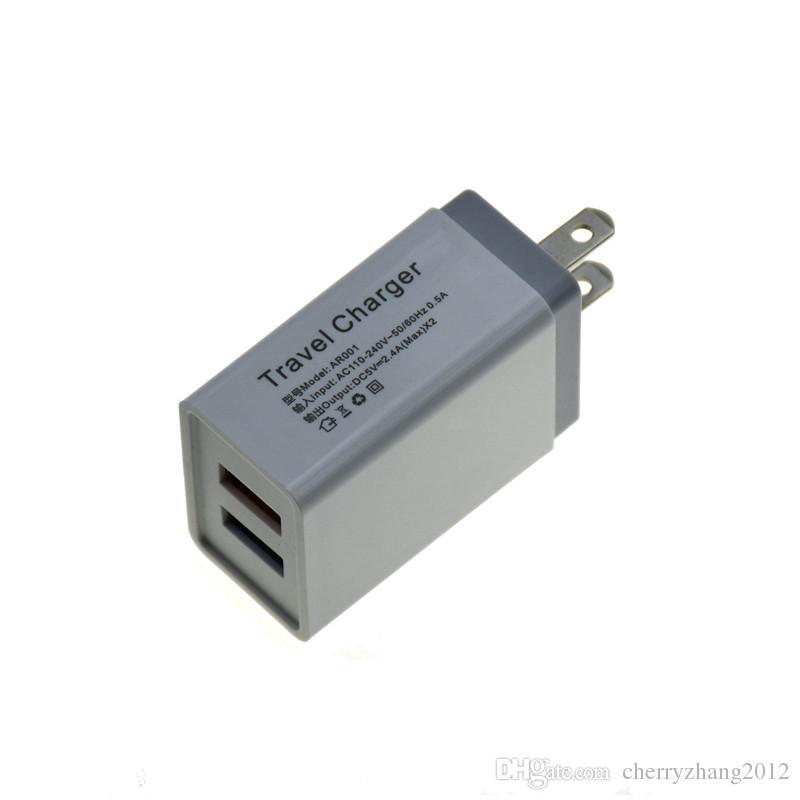 Cargador de pared con doble puerto USB para Samsung S8 Nota 8 5V 2.4A 1A metal recorrido del adaptador de enchufe de los EEUU adaptador de CA 100pcs
