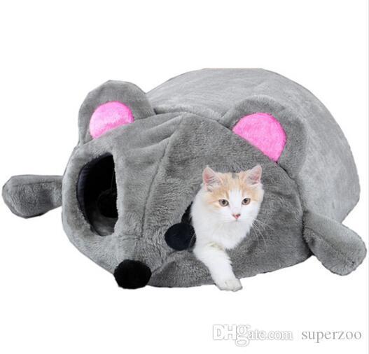 작은 애완 동물 고양이를위한 마우스 모양의 침대 개 동굴 침대 이동식 방석 방수 아래 고양이 집 고양이를위한 고양이
