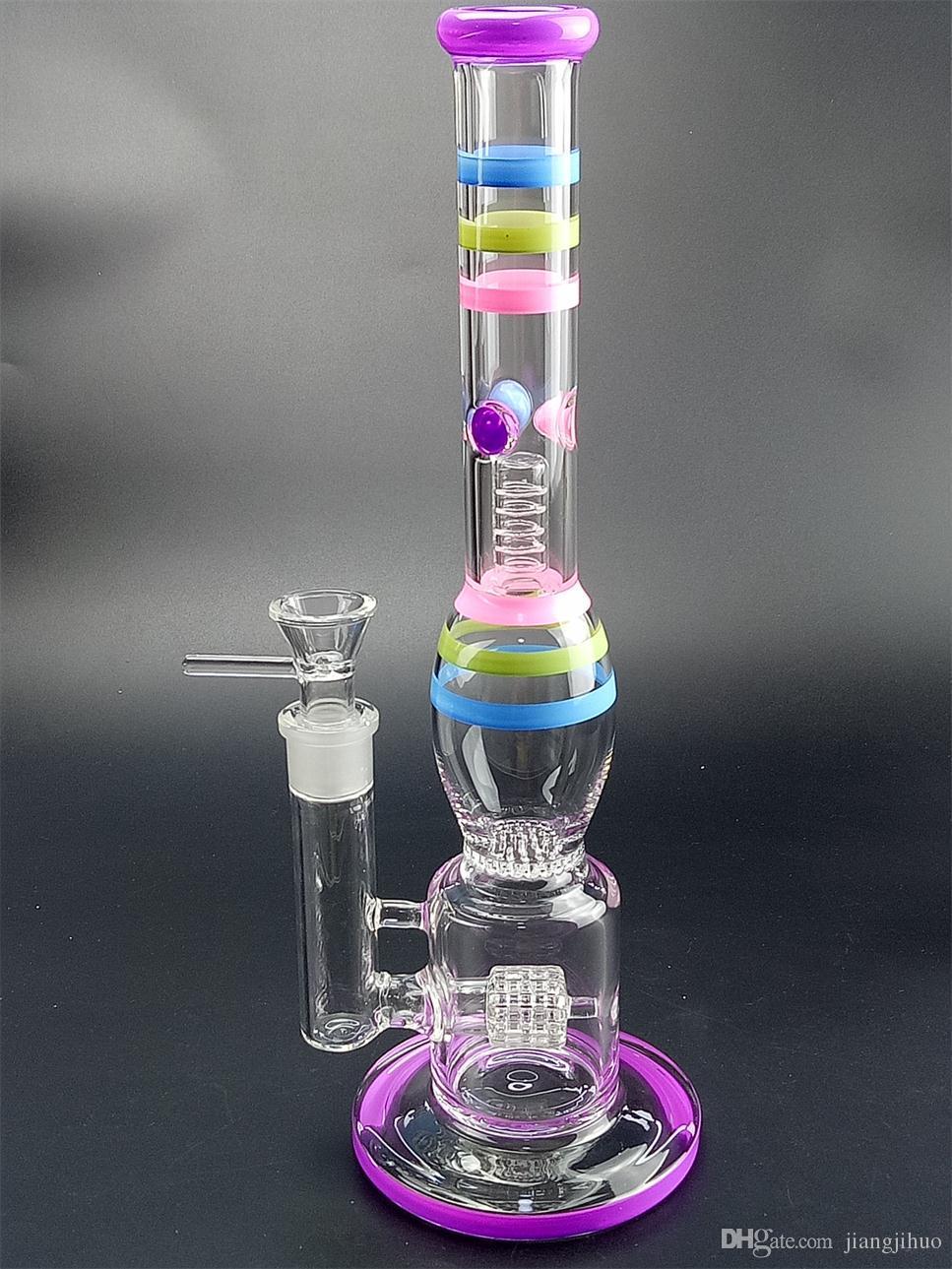 Em estoque 14 polegadas de vidro Bong Water Pipe com 3 camadas de percolador 18,8 mm fêmea conjunta Bongs Oil Rig